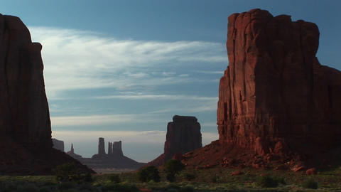 Long shot of Monument Valley Tribal Park in Arizona Footage