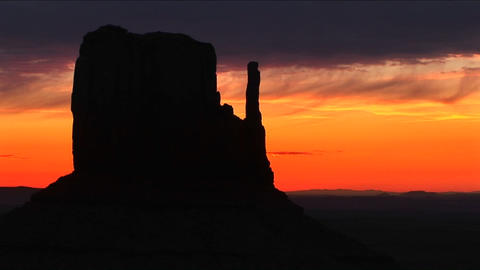 Medium shot of Left Mitten in Monument Valley, Arizona Stock Video Footage