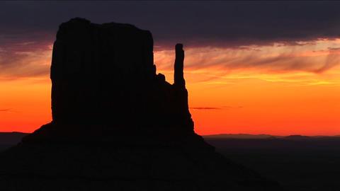Medium shot of Left Mitten in Monument Valley, Arizona Footage