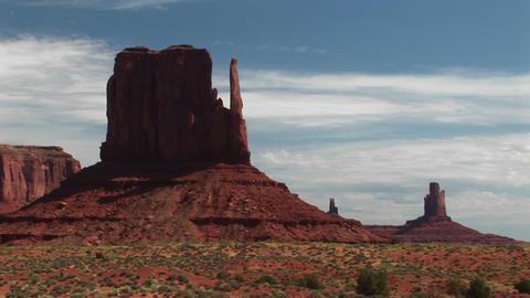 Long-shot of sandstone formations in Monument Valley, Arizona Footage