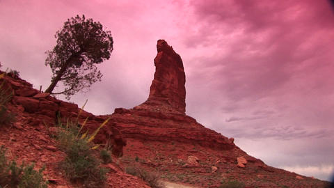 Medium shot of a sandstone formation in the Valley of the Gods Utah Footage