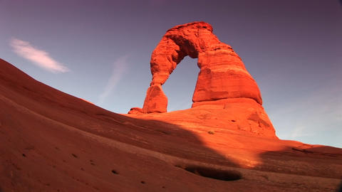 Pan left to Delicate Arch in Arches National Park, Utah Stock Video Footage