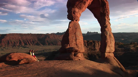 Pan up from the base to the top of Delicate Arch in... Stock Video Footage
