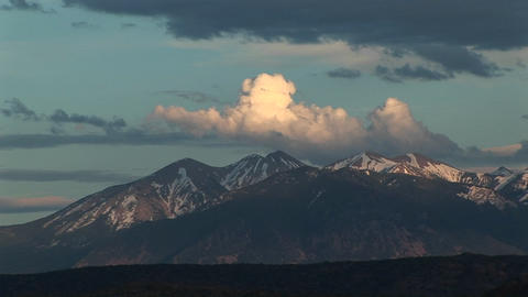 Long-shot of the La Sal Mountains from Arches National... Stock Video Footage