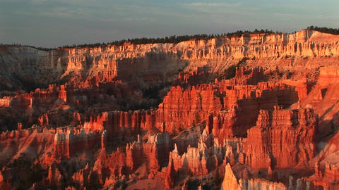 Pan-right shot of Bryce Canyon National Park in Utah Footage