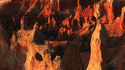 Long shot of intricate sandstone formations in Bryce Canyon National Park Footage