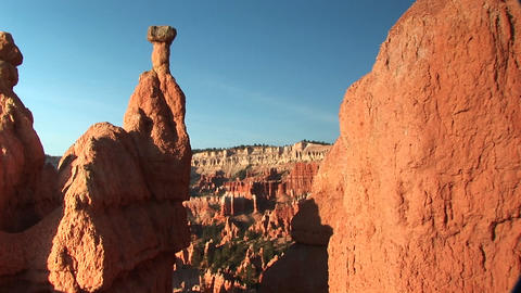 Medium shot of sandstone formations in Bryce Canyon National Park Footage