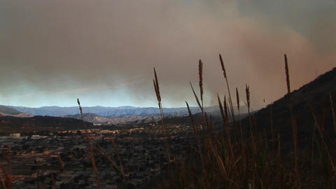 Long shot of the smoke from wildfires covering Ventura,... Stock Video Footage