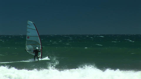 Following shot of kite surfers off the California coast Stock Video Footage