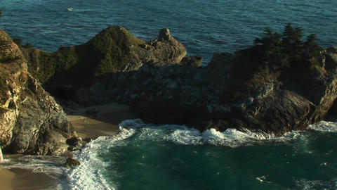 A beautiful waterfall at Julia Pfeiffer Burns State Park along Highway 1 in California Footage