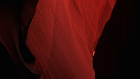 Pan-up of a glowing interior space in Antelope Canyon,... Stock Video Footage