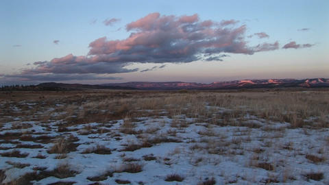 Long-shot of a snow-covered desert landscape Stock Video Footage