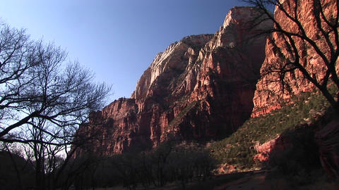 Pan-up of a huge rock-face in Zion National Park, Utah Stock Video Footage