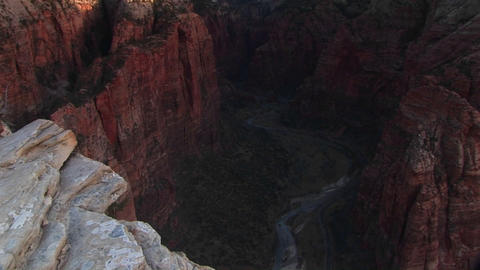 Pan-up from Angels Landing in Zion National Park, Utah Footage