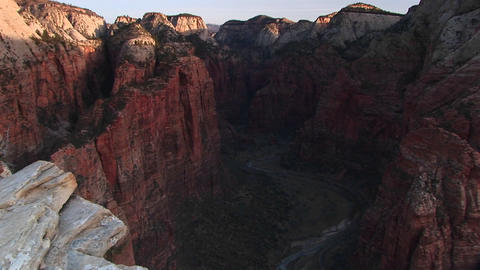 Pan-up from Angels Landing in Zion National Park, Utah Stock Video Footage