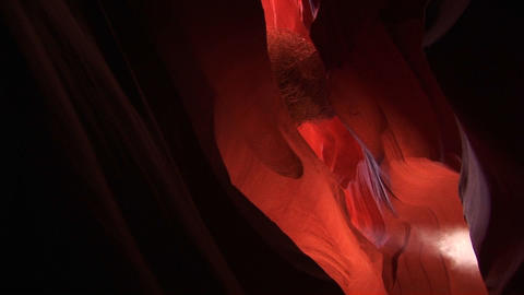 Medium-shot of a light-shaft inside Antelope Canyon, Arizona Stock Video Footage