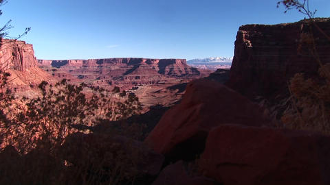 Pan-up of the White Rim Road in Canyonlands National Park... Stock Video Footage