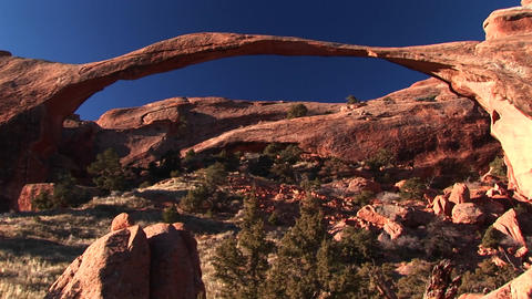 Medium-shot of the Landscape Arch in Arches National... Stock Video Footage