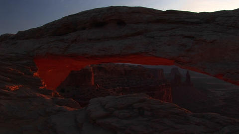 Jib down of Mesa Arch in Canyonlands National Park, Utah Footage