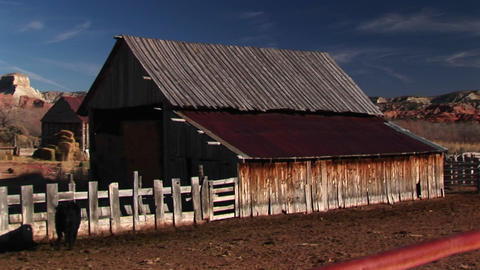 Jib up of a ranch barn in rural Utah Footage