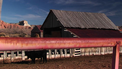 Panning up through foreground of fence of rural Utah ranch house and farm Footage