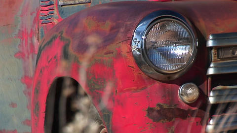 Close-up of headlight and front side of rusted old pickup... Stock Video Footage