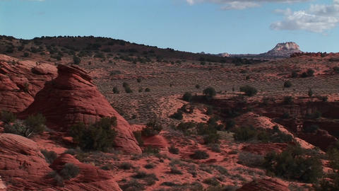 Wide shot of the Vermilion Cliffs Wilderness area in the Utah backcountry Footage