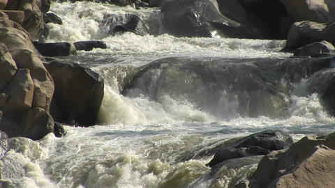 Medium shot of the Kern River rapidly descending a small... Stock Video Footage