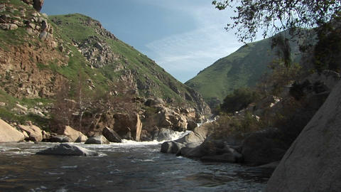 Wide shot of the Kern River flowing from a canyon in the... Stock Video Footage