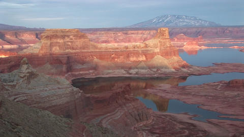 A view at sunset over Lake Mead and the Colorado River Stock Video Footage