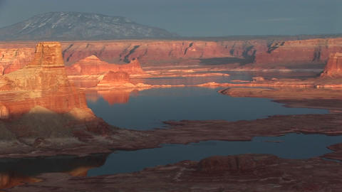 Wide pan-left of Lake Powell's shoreline Stock Video Footage