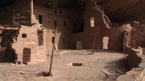 Medium-shot of the ruins of Native American cliff dwellings in Mesa Verde National Park Footage