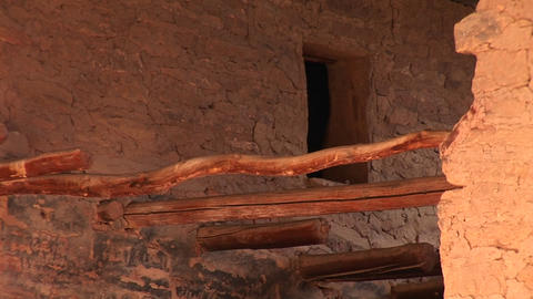 Medium-shot of a passageway in the ruins of cliff dwellings in Mesa Verde National Park, Colorado Footage