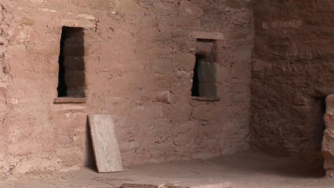 Medium-shot of ruins of a Native American cliff dwelling in Mesa Verde National Park Footage