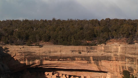 Pan-down to the ancient cliff dwellings in Mesa Verde... Stock Video Footage