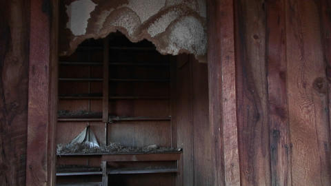 Medium-shot of the basement of an old abandoned farm... Stock Video Footage