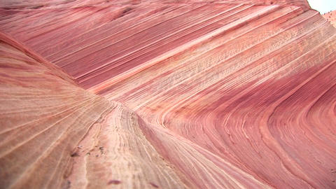 Medium-shot of the rippled geological formations at The Wave, Canyon-Buttes, Utah Footage