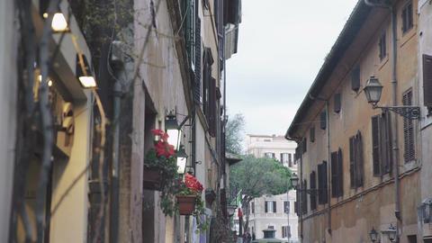 Street deck with flowers in TRASTEVERE Footage