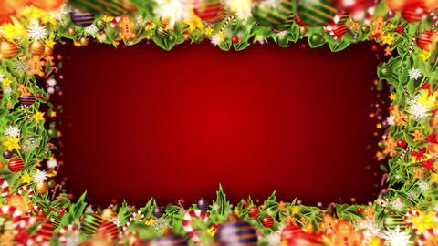 Christmas decoration particles Frame,Red background,Loop Stock Video Footage
