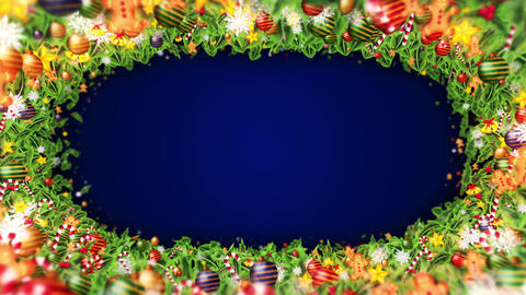 Christmas decoration particles Frame,Blue background,Loop Animation