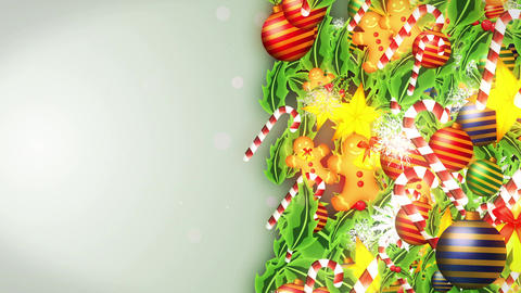 Christmas decoration particles Frame,White background,Loop Animation