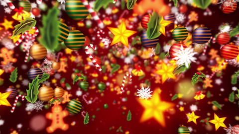 Christmas decoration particles,Red background,Loop Animation