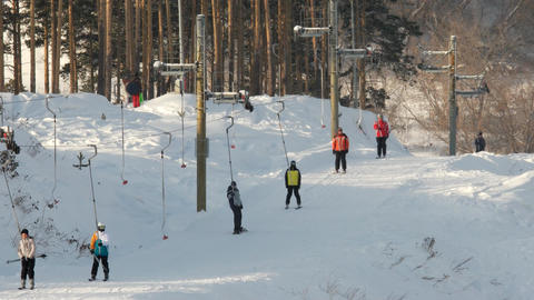 People on the ski lifts. Uktuss Mountains, Yekaterinburg Footage