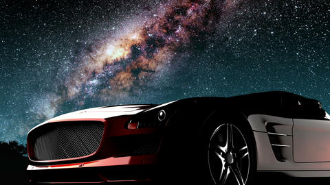 sport car and Milky Way stars at night. Elements of this image furnished by NASA Animation