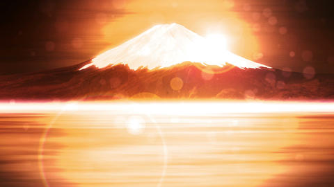 Mt Fuji from Lake,CG Animation,Loop,Yellow CG動画素材