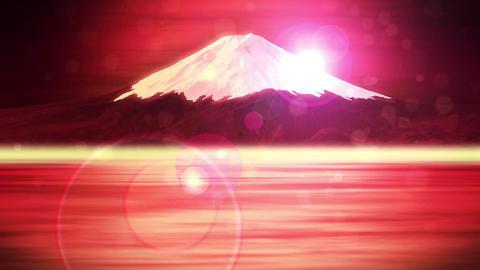 Mt Fuji from Lake,CG Animation,Loop,Red CG動画