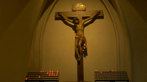Christ Statue and Candles Footage