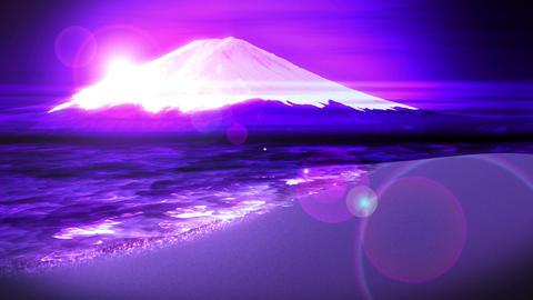 Mt Fuji from Lake,CG Animation,Loop,Blue Animation