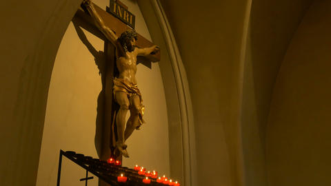 Jesus Christ Crucifix and Candles Footage