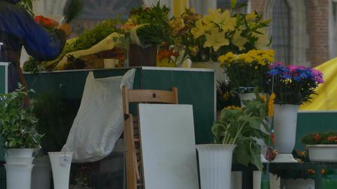 Rain at Flower Market Footage